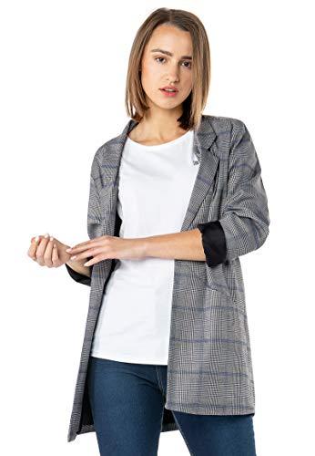 Sublevel Damen Oversized Long-Blazer im Karo Design Grey S - Karo-blazer