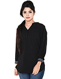 Twist Womens Black Casual Party Wear 3/4th Sleeve Short Kurti Top With Contrast & Free Shipping