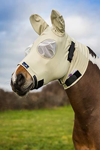 Snuggy Hoods Sweet Itch Kopf-/Fliegenmaske mit Reißverschluss - Insekten- und UV-Schutz (Beige, XS)