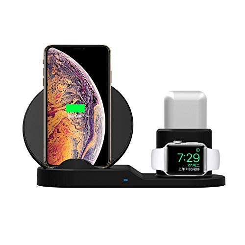 K-Park Supporto di Ricarica Wireless 10W Supporto per Ricarica Tre in Uno per Apple Watch Serie 4/3/2/1 / AirPods/iPhone XS/X Max/XR / X / 8 / 8Plus e Altri telefoni di Ricarica Wireless