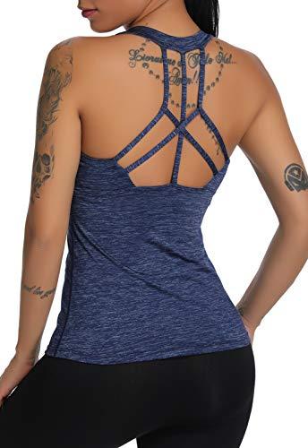 CROSS1946 Damen Sporttop Yoga R¨¹kenfrei Oberteil Laufen Fitness Funktions Shirt Tank Tops Blau Medium