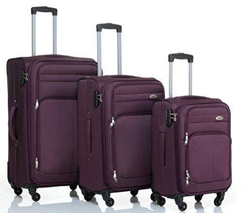 Beibye 4ruedas maleta de viaje 8005plástico maletín equipaje Maleta Juego de L XL de m en 5colores (Lila, Juego)