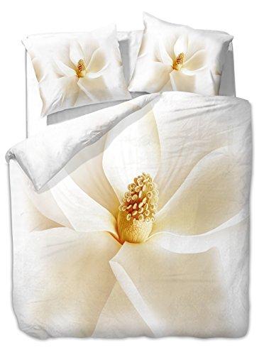 DecoKing 200x220 cm Bettwäsche mit 2 Kissenbezügen 80x80 3D Bettwäscheset Bettbezüge Microfaser Bettwäschegarnituren Reißverschluss Blume Blumen Blumenmuster Pure Creme weiß Ecru