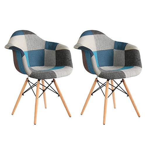 MIFI 2X Stuhl Esszimmerstuhl Patchwork Design Klassiker Patchwork Sessel Retro Barstuhl Wohnzimmer Küchen Stuhl Esszimmer Sitz Holz Leinen (Blau)