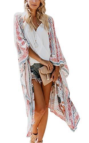 Hibluco Damen Kimono-Cardigan mit Blumenmuster, durchsichtiges Oberteil, lose Bluse - - XXX-Large (Womans 3x Strickjacke)