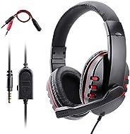 Gaming Kopfhörer für PS4 Xbox One, Dhaose Gaming Headset mit Mikrofon,3.5mm Surround Sound Over-Ear-Kopfhörer