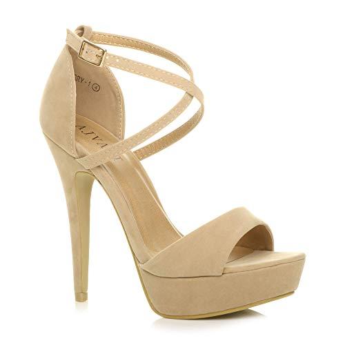 fd3dae09 Ajvani - Sandalias de vestir para mujer, color Beige, talla 36.5