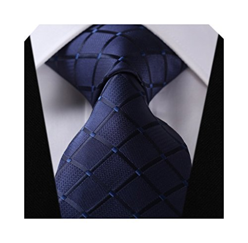HISDERN Check Wedding Tie Handke...