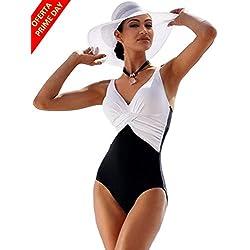 Bikini Natacion Traje de Baño Una Pieza Bañador Mujer Alta Cintura Push Up con Aro