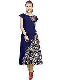 ZIYAA Women's Blue Color Floral Print Straight Crepe Kurta