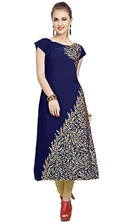 ZIYAA Women's Blue Color Floral Print Straight Crepe Kurta (ZIKUCR1435-S_Blue)
