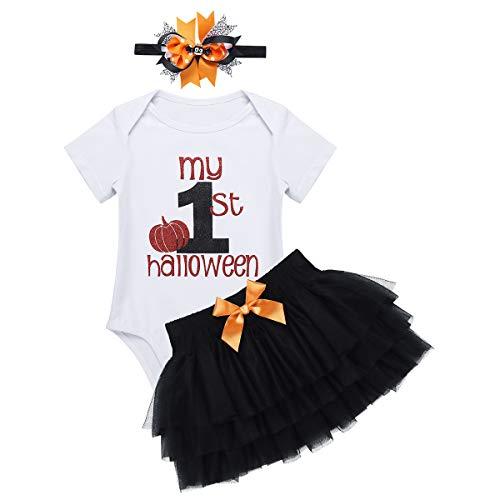 dPois Baby Mädchen Festliche Strampler Spielanzug und Tutu Rock Set mit Haarschmuck Säugling Halloween Party Outfit Fotografie Weiß&Schwarz 80-86/12-18 (Kostüm 1218 Monate)