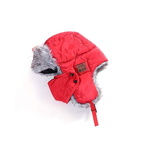 Winter Ski Hut (VCB Kopfhörer Hut Winter Ski Verdicken Warme Kunstfell Wireless Headset - rot)