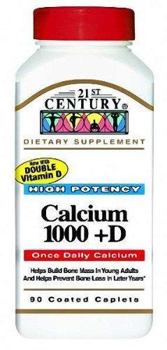 21st Century Health Care, Calcium 1000 + D, D3, 90 Caplets -