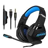 Gaming Headset für PS4, Xbox One, PC, Nintendo Switch, Laptop Handy Stereo Surround Gaming Kopfhörer mit Mikrofon, Geräuschunterdrückung, LED-Lichter, Lautstärkeregler Blau blau