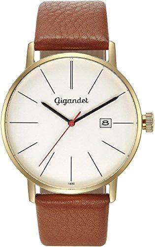 Gigandet Reloj Hombre Cuarzo Minimalism Analógico Correa de Cuero Oro Marrón G42-008