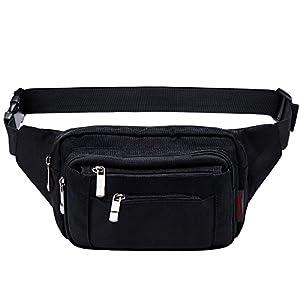 [Gürteltasche] Freetoo Bauchtasche Multifunktionale Hüfttasche 5 Fächer mit Reißverschluss geeignet für Reise Alltagsleben und Outdoor-aktivität Schwarz, für Damen und Herren