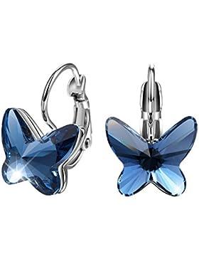 T400 Juweliere weiß vergoldet Swarovski Elements Kristall Saphir Schmetterling Form Hoop Ohrringe