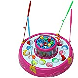 SmartPick Magnetic Fishing Game with 2 Rotating Ponds, Music and Light, Pink