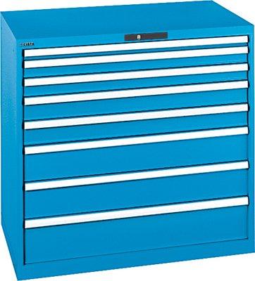 Preisvergleich Produktbild LISTA Schubladenschrank, Traglast/Schubl. 75 kg, 8 Schubl. 1x50, 2x75, 2x100, 2x150, 1x200 mm, Zylindersch loss, BxTxH 1023x725x1000 mm, RAL 5012 lichtblau
