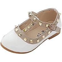 Qitun Bambine e Ragazze Tacco Basso Scarpe Mary Janes Studded Fondo Morbido Partito Formale Ballerina Scarpe