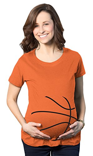Crazy Dog Tshirts Maternity Basketball Bump Announcement Funny Pregnancy Gift Tee for Ladies (Orange) S - Damen - S