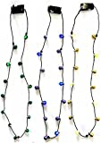 Mardi Gras Holiday Christmas Party LED Flashing Beads Necklaces Purple, Green, Gold/Yellow - 3 Pack