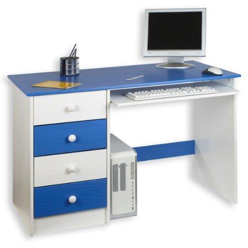 Schreibtisch MALTE, Kiefer massiv, blau-weiß lackiert