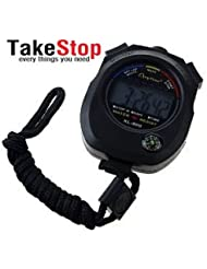 takestop - Chronomètre numérique, fonction montre et minuterie, résistant à l'eau, pour sport, jogging, course de natation