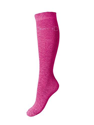 Esperado Kniestrumpf mit Strassmotiv \'Gebiss\' in pink, Größe:39-42