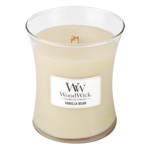 Woodwick candela in giara di vetro media profumata baccello di vaniglia, rosa chiaro, 10x11 cm