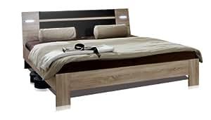 Wimex 751351lit 160x 200cm Support de surface, mètre 169x 87x 210cm, avec éclairage, chêne sans sécher, lavafarbig