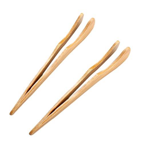 Fablcrew Bambus Zange Bambus Küche Zange Servierzange, Lebensmittel-Zangen Holz-Zange Kochen natürlichen Bambus Lebensmittel Clip Size 18cm (Stil 2)