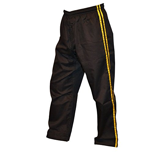 TurnerMAX KickBoxing Hose MMA Muay Thai Boxing Schwarz mit gelben Streifen 160 bis 200 (190cm)