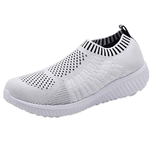 Dorical Damen Mädchen Mesh Slip On Sneakers Walking Outdoor Gym Bequem Leichte Atmungsaktiv Freizeitschuhe Mädchen Net Schuh Turnschuhe für Frauen 35-39 EU Reduziert(Weiß,39 EU)