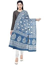 NEEL BATIK - THE BLOCK PRINTS Women's Malmal Cotton Stole (Blue) - B078M25326