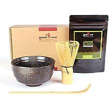 Conjunto de arranque té Matcha:–té verde Matcha japonés de agricultura de orgánico + taza de té Matcha en ceramiqe, batidor y cuillière en bambú