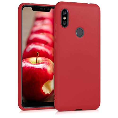 kwmobile Funda para Xiaomi Redmi Note 6 Pro - Carcasa para móvil en TPU Silicona - Protector Trasero en Rojo Mate