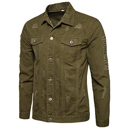 Beonzale Mens Casual Herbst Winter Loch Langarm Demin Jacke Tops Coat Outwear Bluse (T-shirt Junior Men Boss)