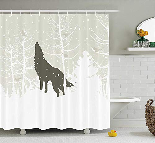 keiwiornb Winter Duschvorhang, Wolf Silhouette Howls in Woods Leafless Trees Snowflakes Wilderness, Fabric Bathroom Decor Set with Hooks,60W X 72L Inches