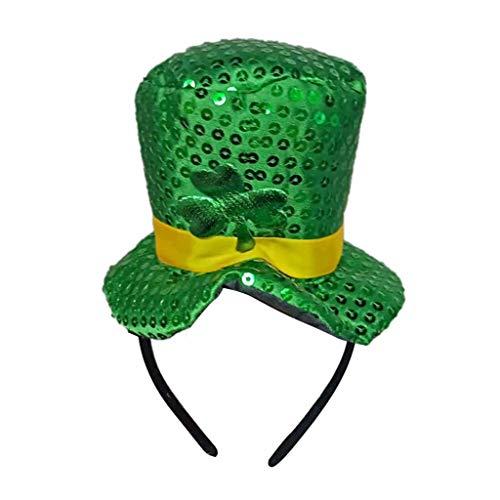 Yumimi88 St. Patrick's Day Grüner Irischer Erwachsener Hut Shamrock-Samt-Zylinder für Männer und Frauen Haarschmuck Leprechaun Saint Patricks Day (B)