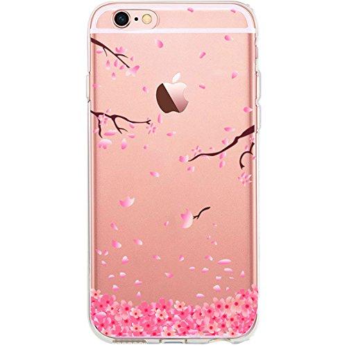 GIRLSCASES®   iPhone 6-6S Hülle   Im Fee Motiv Muster   in schwarz   Fashion Case transparente Schutzhülle aus Silikon Rosenblätter 1