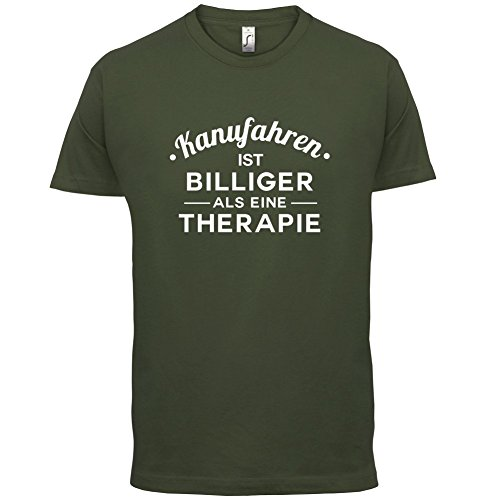 Kanufahren ist billiger als eine Therapie - Herren T-Shirt - 13 Farben Olivgrün
