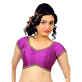 Vamas Women's Silk Solid Short Sleeves Saree Blouse (CO-203)