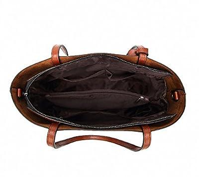 Aileese Womens Soft cuir sacs à main grande capacité rétro Vintage haut-poignée occasionnels épaule sacs fourre-tout