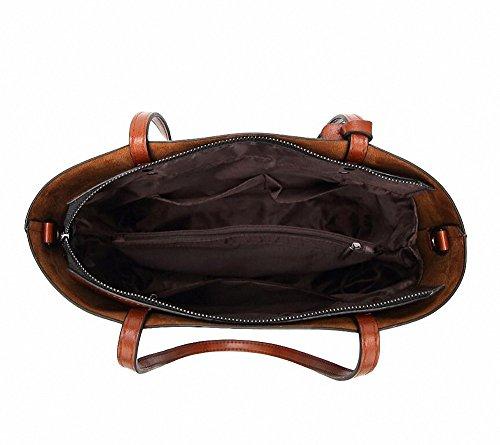 Womens Soft pelle borse grandi capacità retrò Vintage Top-manico casuale Tote borse a spalla Viola