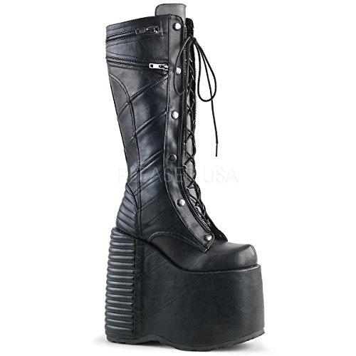 Demonia SLAY-320 Blk Vegan Leather UK 5 (EU 38) Studded Wedge Heels