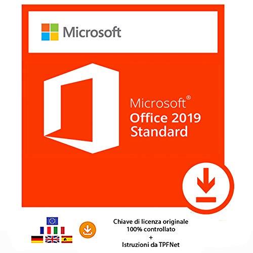 MS Office 2019 Standard 32 bit e 64 bit - Chiave di Licenza Originale per Posta e E-Mail + Guida di TPFNet - Spedizione max. 60min