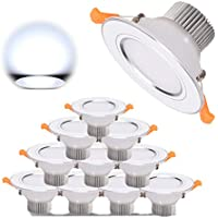 Foco Empotrable LED 10 X 3W Downlight Plafón Luz de Techo Blanco Frío 6000K 300lm para Baño Cocina AC 85-265V Transformador Incluido
