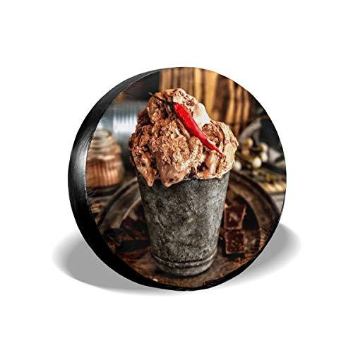 Huabuqi Chocolate Cupcakes Pure Black Polyester Reserverad Reifen Rad Ventilabdeckung (1er Packung) 15inch -